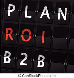 plan ROI B2B words on airport board