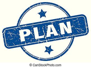 plan round grunge isolated stamp
