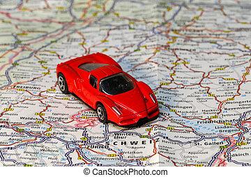 plan, route, pays, map., jouet, voyage, voiture, switzerland.