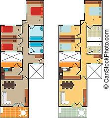 Plan scheme high-rise apartment. For design and creativity....
