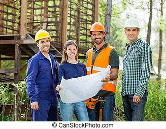 plan, site construction, architectes, heureux