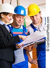 plan, site construction, plancher, équipe, régler, travail