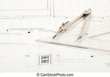 plan, sommet, architecture, plancher