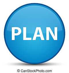 Plan special cyan blue round button