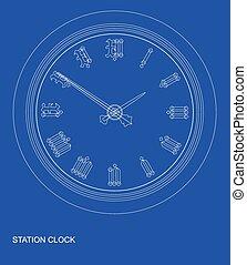 plan, stacja, zegar