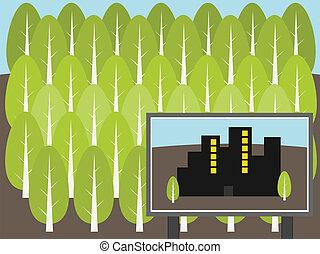 plan, stad, bos, illustratie, bouwen