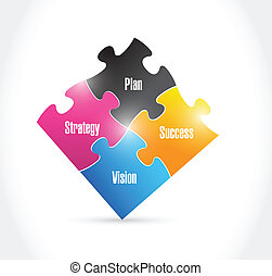 plan, strategy, success, vision puzzle pieces illustration design over a white background