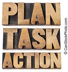 plan, task, action word in woot type
