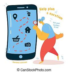 plan, ton, vacances, aide, personnel, aide