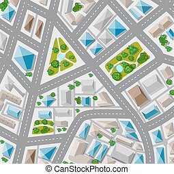 Plan top view for the big city with streets, roofs, cars