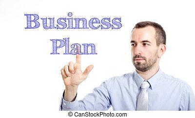 plan, toucher, business, homme affaires, texte, jeune, -, barbe, petit