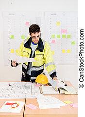 plan, tourner, ouvrier, quoique, construction, tenue, pages