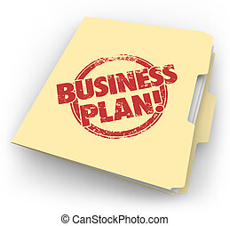 plan trabajo empresa, carpeta de papel de estraza, documentos, estrategia, visión, inicio, compañía
