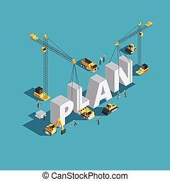 plan trabajo empresa, creación, 3d, isométrico, vector, concepto, con, trabajadores, y, maquinaria construcción