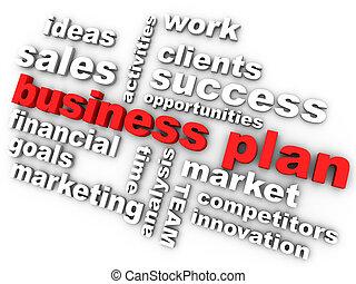 plan trabajo empresa, en, rojo, rodeado, por, relevante, palabras