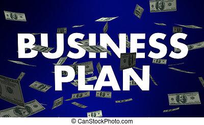 plan trabajo empresa, meta, estrategia, dinero, palabras, 3d, ilustración