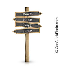 plan, un, b, c, d, pizarra, muestra del camino