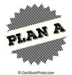 plan, un, negro, estampilla