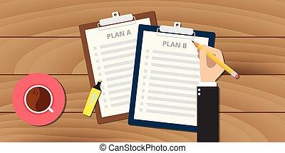 plan, un, y, b, ilustración, con, portapapeles