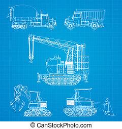 plan, véhicules construction