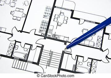 plan, van, flat, met, een, potlood