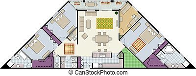 Plan - Vector shows the architectural plan of three-bedroom ...