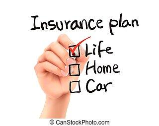 plan, verzekering, controlelijst, controleren, hand, 3d