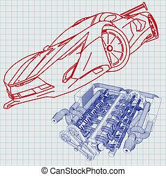 plan, voiture, croquis, sports
