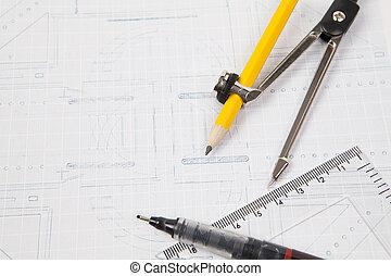 plan, von, architektur