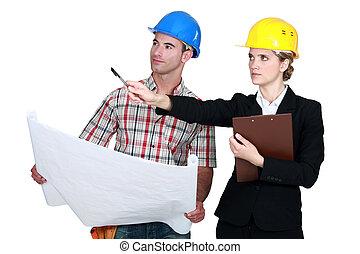 plan, voorman, het bespreken, architect