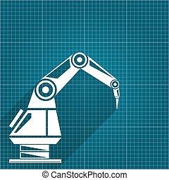 plan, wektor, ręka., ręka robota, tło., papier, projektować, tło, robotic, technologia, symbol