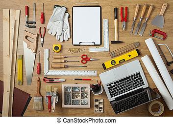 plan, werken, gereedschap, doe het zelf