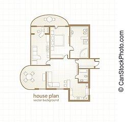 plan., woning, vector, illustratie