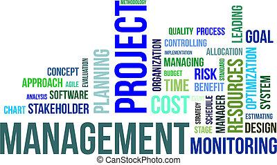 plan, woord, management, -, wolk