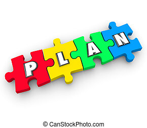 Plan Word Puzzle Pieces Business Management Strategy