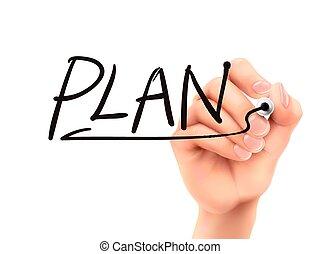 plan word written by 3d hand