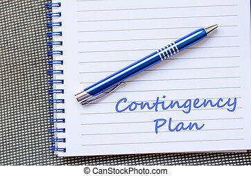 plan wypadku, pisać, na, notatnik