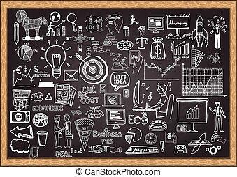 plan, zakelijk, chalkboard