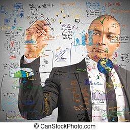 plan, zakenman, tekening, nieuw