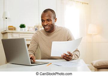 plan, zakenman, zijn, werkende , vrolijke