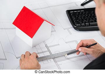 plan, zrobienie, szczelnie-do góry, architekt