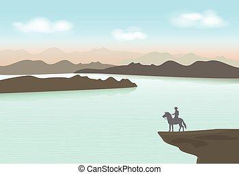 planalto, fundo, cavalo, paisagem, ficar, boiadeiro, ponto
