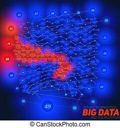 planar, abstrakcyjny, analytics, zawiły, design., uzmysłowienie, sieć, infographics, handlowy, informacja, cielna, estetyczny, complexity., wzrokowy, nitki, nodes., dane, chart., wektor, towarzyski, albo, futurystyczny