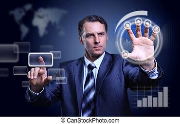 planchado, hombre de negocios, botones, plano de fondo, moderno, alto, virtual, tecnología, tipo