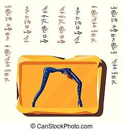 planche, égyptien, hiéroglyphes, argile, tablette pierre
