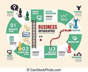 planche, étape, business, réussi, illustration, jeu, vecteur...