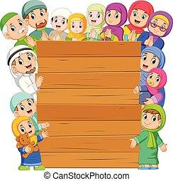 planche, autour de, il, famille, musulman