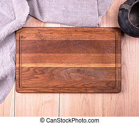 planche, bois, serviette, gris, vieux, vide, cuisine, découpage