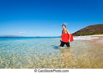 planche, boogie, plage, jeune homme