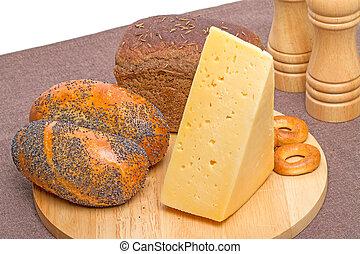 planche, boulangerie, produits, fromage, découpage